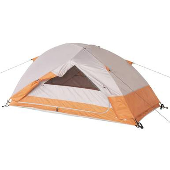 "The Ozark Trail 2-Person Hiker Tent with Roll-Back Fly is ideal for a weekend backpack trip. The 33 square feet of space comfortably sleeps 2 people. With a center height of 42"", you can easily sit upright in this tent. Two vestibules provide 10 square feet of extra storage space at the front and rear of this tent and 2 doors make accessing the vestibules easy for both of you."