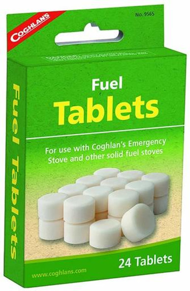 The Coghlan's Stove Fuel Tablet is safe, clean, burning fuel, easy to use! These tablets are smokeless, odorless and non toxic. Perfect for all your outdoor activity needs and emergencies, each pack has 24 tablets. Fuel is used for Coghlan's Emergency Stove.