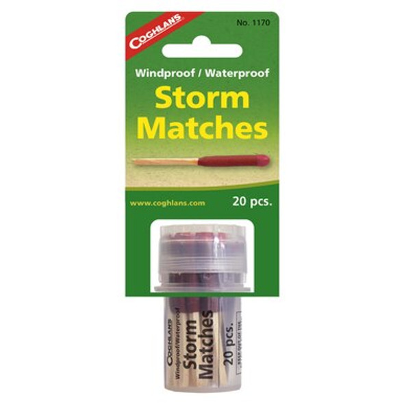 Coghlan's Windproof/Waterproof matches will burn even while wet! During windy rain storm while camping  you can rely on these matches to last. These matches cannot be extinguish by wind and withstand immersion in water. Matches burn for 10 seconds each tub carries 20 matches.