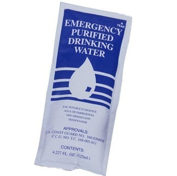 SOS Emergency Water Packets contains 4.227 fl oz. of purified water rationed for survival situations. Ideal for camping, hiking, disaster relief and emergencies.