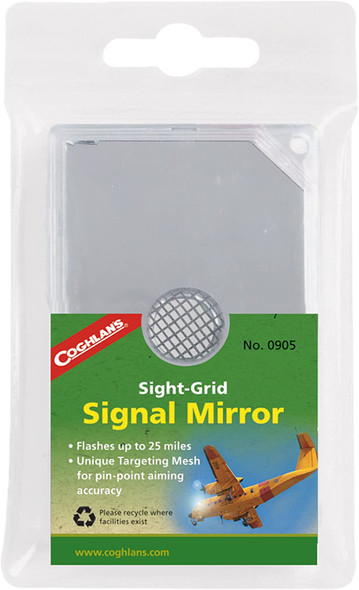 Coghlan's Sight-Grid Signal Mirror. An essential safety tool for all your outdoor activities, this sight grid signal mirror uses Targeting Retro-Reflective Mesh to aim reflected light flashes with pinpoint accuracy on targets up to 25 miles away.