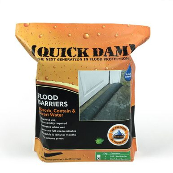 Quick Dam Flood Barriers absorb, contain & divert problem flood water. Flood Barriers are water-activated and come in lengths of 5ft, 10ft and 17ft. Flood Barriers absorb, swell and gel oncoming water on contact to create a durable barrier.