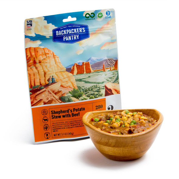 Backpacker's Pantry Shepard's Stew with beef is a traditional & all-natural recipe made with creamy mashed potatoes, lean beef, cheddar cheese, rich gravy and is packed with vegetables. Carrots, peas, onions and corn combine with the hearty smooth beef gravy & chunks of lean freeze-dried beef to make this Backpacker's Pantry favorite meal for all ages! Backpacker's Pantry Shepard's Stew with Beef is super lightweight, convenient and easy to prepare with only two cups of boiling water and 15 minutes hydration time needed.