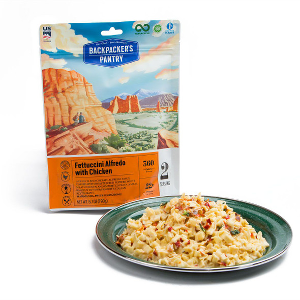 A classic Italian favorite. Our version combines a rich and creamy Alfredo sauce tossed with roasted red peppers,all-natural chicken and imported Belgian egg noodle pasta. A best seller for over ten years! Bring along a bit of white wine for a truly gourmet meal. Best By Date on packaging is 10 years from manufacturing date.