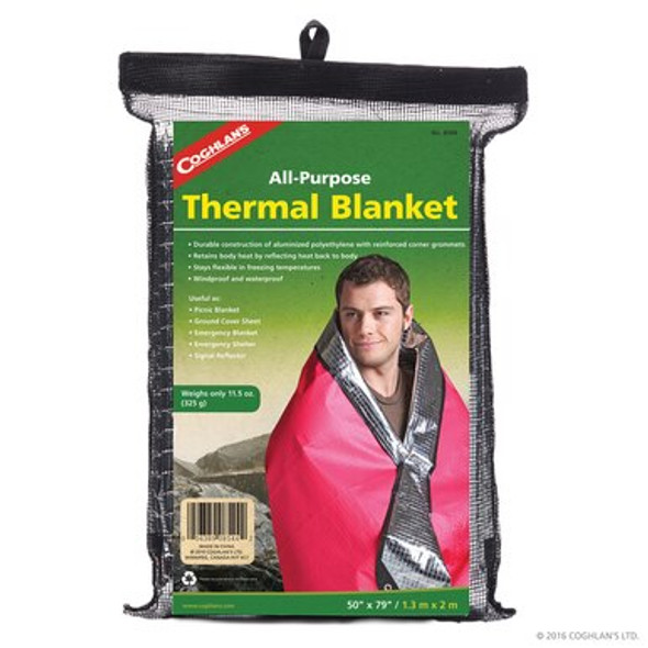 Thermal Blanket retains body and heat and reflects heat back to the body. The corners have reinforced grommets and the edges are stitched. Windproof, waterproof, strong, compact, and soil resistant.