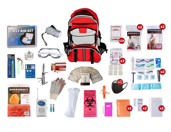 This 2Person 72-Hour Elite EmergencyPreparednessKithas all items packed securely in our  Multi-Pocket Hikers Backpack. Individual components are placed in waterproof bags and neatly organized in the backpack for easy access. Hand-assembled in the USA.
