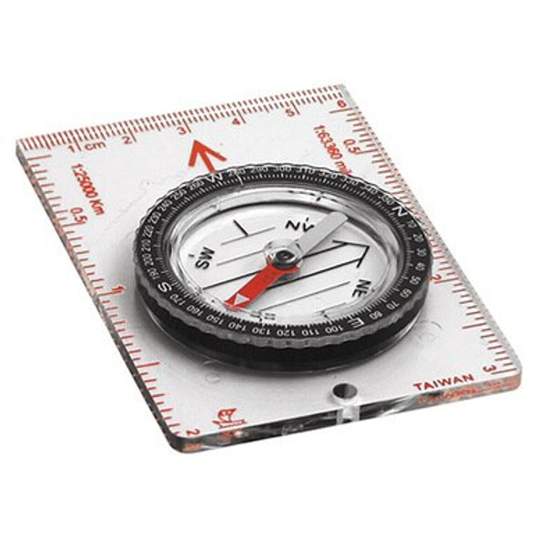 This Coghlan's Map Compass features a see through base and rotating, liquid filled housing. Base contains scales in inches, millimeter and 1:25,00. Jeweled needle and luminous pointer.