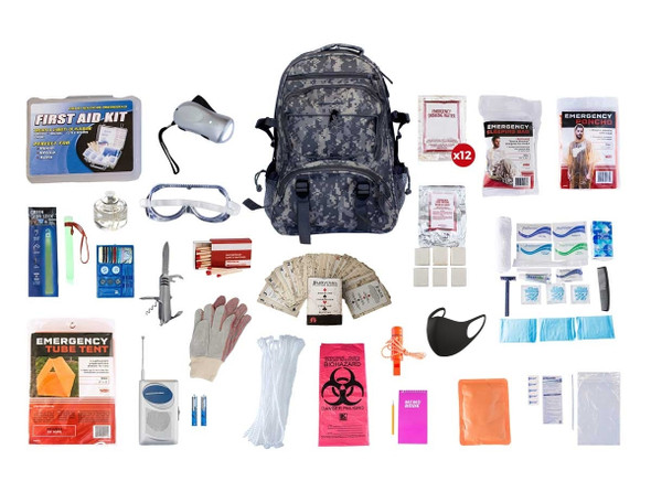 This 1 Person 72-Hour Elite Emergency Preparedness Kit has all items packed securely in our Deluxe Camouflage Backpack, which has extra space for personal items, a bright orange pullout flag, and gun straps to free your hands as you travel. Each item is in a waterproof bag and neatly organized in the backpack for easy access. Hand-assembled in the USA.