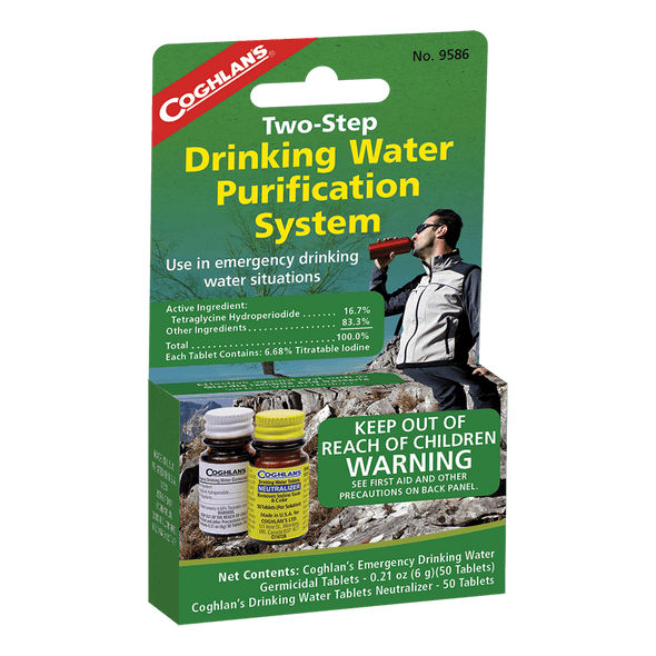 Coghlan's Two Step Drinking Water Treatment is perfect when you're camping , hiking, or in case of emergency. When used as directed, they make most water bacteriologically suitable for drinking. Not to be used on a continuous basis.