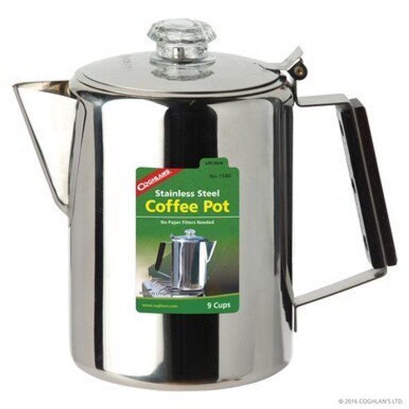 Enjoy a fresh and steaming cup of coffee while spending time outdoors with the Coghlan's 9-cup Stainless Steel Coffee Percolator, 1340. This 9-cup coffee percolator is made of strong 18/8 stainless steel. It has a polycarbonate percolator top and features precision-fit parts and seamless construction for long-lasting durability.