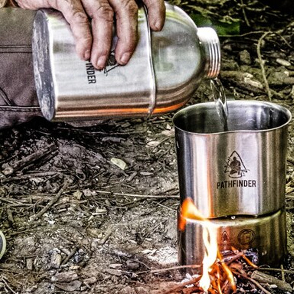 The Pathfinder School has developed the ONLY wide mouth stainless steel military canteen on the market today. The wide mouth design of this canteen allows you to easily obtain water from the shallowest of water pools, which will help conserve precious calories and energy that can be used to aid in your rescue or to affect your own self-rescue. The Pathfinder Widemouth Military Style Canteen Cooking Kit was designed so the canteen will nest inside the cup along with the stove for convenient and compact storage.