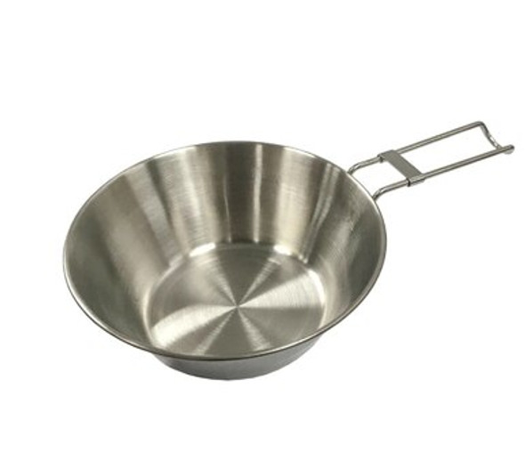 This Bowl is made of 18/8 stainless steel, it is odorless and non-toxic. Brushed polished inner makes it beautiful and tough, easy to clean as well. The handle can be folded for easy carrying; the edge of this bowl is curled so it is safer for you to use. This bowl can be placed directly on the stove for cooking so it is easy for you to use outside.
