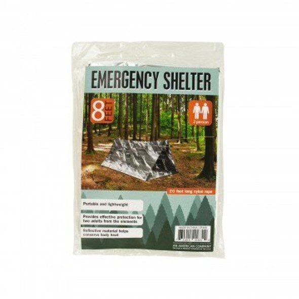Portable, lightweight design features reflective material that helps conserve body heat. Great to have on hand in case of emergencies, this 2 Person Emergency Shelter provides effective protection from the elements for two adults. 20' long nylon rope is included.