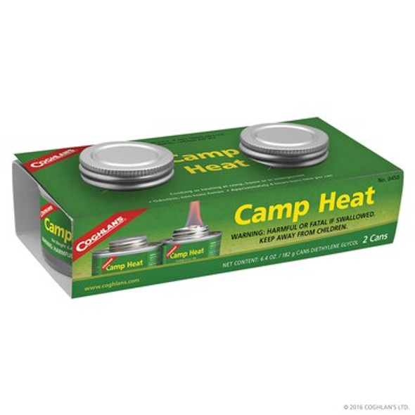 Coghlan's Camp Heat is perfect for all your cooking or heating at camp, home , or in emergencies. Odorless, non-toxic fumes. Burns  for approximately 4 hours per can.