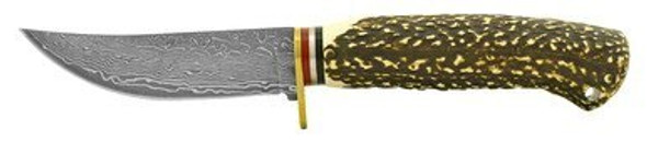 "4.63"" Faux Bone Handle Damascus Hunting Knife"
