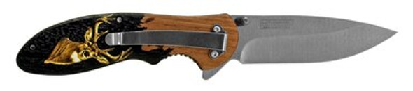 "4.5"" Spring Assisted Hunting Folding Pocket Knife - Deer"