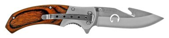"4.63"" Hunting Pocket Knife with Gut Hook - Wooden"