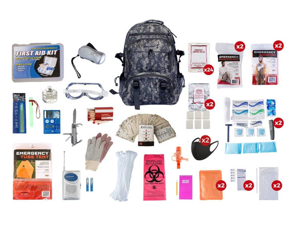 This 2Person 72-Hour Elite EmergencyPreparednessKit has all items packed securely in our Multi-Pocket Hikers Backpack. Individual components are placed in waterproof bags and neatly organized in the backpack for easy access. Hand-assembled in the USA.