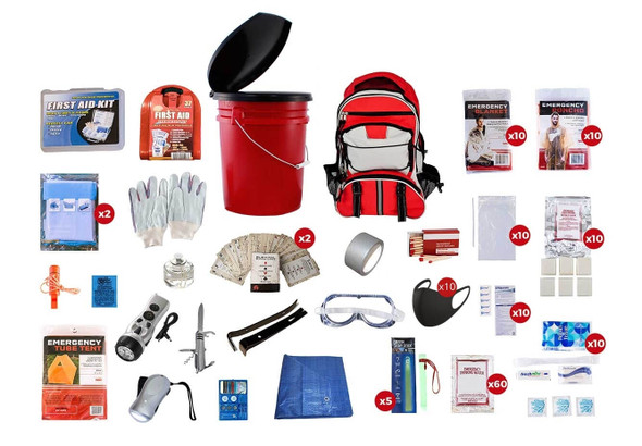 10 Person 72 Hour Survival Kit . This Emergency Kit has all items packed securely securely in our Multi-Pocket Hiker's Backpack and 5 Gallon Bucket with Toilet Seat Lid, which contains extra space available for personal items. Each item is hand assembled in the USA into waterproof bags and neatly organized in the backpack for easy access. Hand-assembled in the USA.