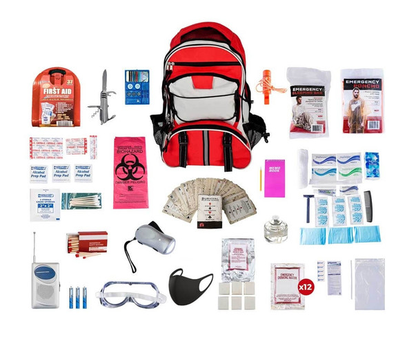 1 Person Deluxe Survival Kit.  This Emergency Kit comes with all items packed securely in our Deluxe Multi-Pocket Hiker's Backpack, which has extra space for personal items. Each item is in a waterproof bag and neatly organized in the backpack for easy access. Hand-assembled in the USA.