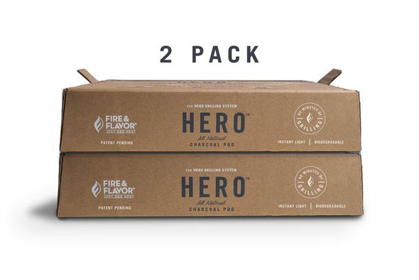 Eco-friendly and instant light Hero Charcoal Pods are ready in 10 minutes and deliver over 60 minutes of cooking time. Clean up is easy because any grilling mess is captured in the single use, disposable pod. It's a healthier choice, as the charcoal is plant-based, low VOC and can be composted.