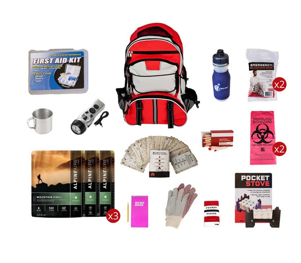 2 Person-7 Day Food Storage Survival Kit-Red. This Emergency kit contains 44 Long-Term Food-Storage Meals which will feed 1 person for 14 days or 2 people for 7 days. These products have a 7-year shelf life. The kit also contains a water purification bottle along with many other emergency preparedness products.