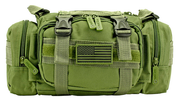 The Military Detachment Pack is a convenient size for all sorts of gear, this pouch fits on your MOLLE compatible tactical vest, chest rig, gear bag or other equipment. Two main compartments and two side compartments combine for maximum storage capability. Rugged 600-denier polyester is lined with PVC for rip-free, water-resistant performance.