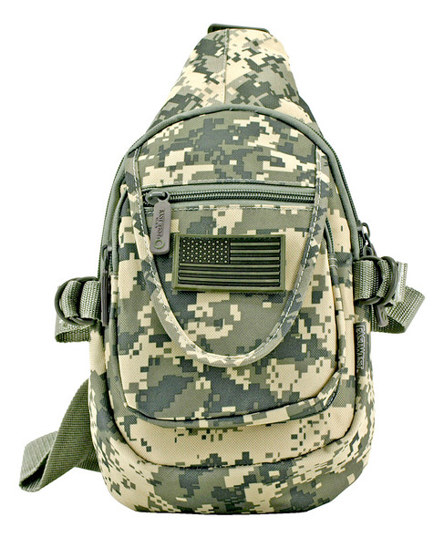 Tactical Military ACU Utility Chest Pack & Sling Bag is an ideal everyday carry bag for your commute or for outdoor excursions. The digital camo pack has a single shoulder strap that adjusts for an optimal fit and D-ring compression straps for stabilizing your gear. You can sling the bag over your shoulder or wear it across your chest as you wish. In addition to its main zip compartment, the pack has a smaller pocket with a mini zip pocket on its flap.