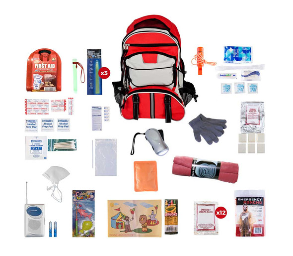 Give children their very own  survival kit packed with everything that they need for 72 hours during an emergency.  This emergency preparedness kit  is packed securely in our  Multi-Pocket Hikers Backpack, which has extra space for personal items. Each item is in a waterproof bag and neatly organized in the backpack for easy access. Hand-assembled in the USA.