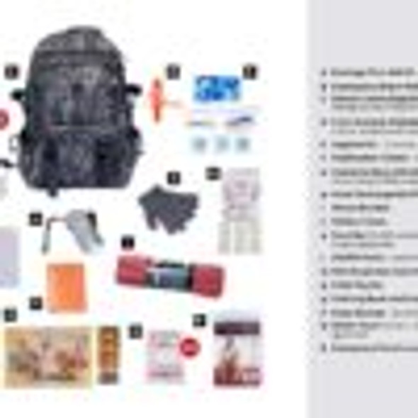 Give children their very own  survival kit packed with everything that they need for 72 hours during an emergency.  This emergency preparedness kit  is packed securely in our Deluxe Camouflage Backpack, which has extra space for personal items, a bright orange pullout flag, and gun straps to free your hands as you travel. Each item is in a waterproof bag and neatly organized in the backpack for easy access. Hand-assembled in the USA.