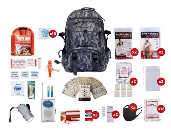 This2 Person 72-Hour EmergencyPreparedness Kithas all items are packed securely in our Deluxe Camouflage Backpack, which has extra space for personal items, a bright orange pullout flag, and gun straps to free your hands as you travel. Each item is in a waterproof bag and neatly organized in the backpack for easy access. Hand-assembled in the USA.