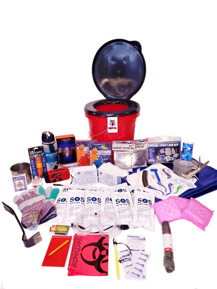 The Hurricane Emergency Kit is packed securely in our 5-Gallon Bucket with Toilet Seat Lid. Individual components are placed in waterproof bags and neatly organized in the bucket for easy access. Hand-assembled in the USA.
