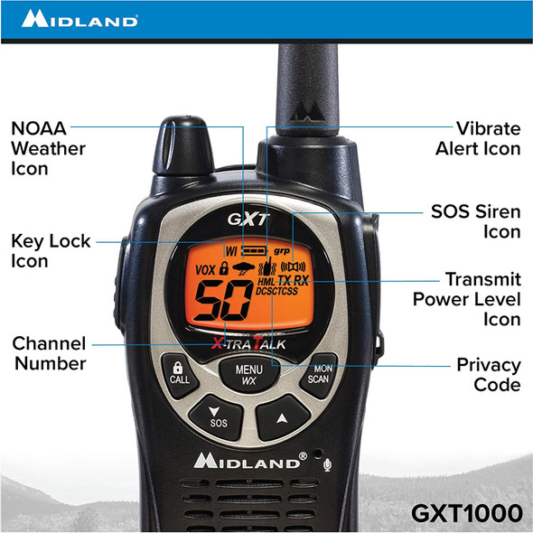 With 50 channels, this top-selling NOAA weather alert two-way radio gives you maximum output power with Xtreme Range Technology.