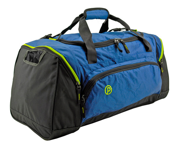 "This 24"" Protege Carry On Travel Duffel Bag is constructed with heavy duty material, over-sized zippers and tabs. Lockable main compartment with great storage space allows you to secure your personal items no matter where you travel. Includes two side compartments for separation of additional gear. This duffel bag also features a smaller front pocket to allow for the organization and storage of smaller items. Shoulder carrying strap with padding included!"