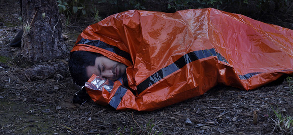"84"" x 36"" Orange Heavy Duty Emergency Aluminized PE Sleeping Bag"
