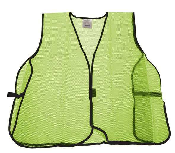 Be Seen with our Lime Green Mesh Safety Vest. It's distinct color allows you stand out and be seen in any environment.  • Hook & Loop Closures • Breathable Material • One Size Fits All • Lime Green • 100% Polyester, Machine Wash Warm, 104F (Max)