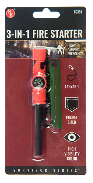 3-IN-1 Flint Fire Starter, Compass & Whistle