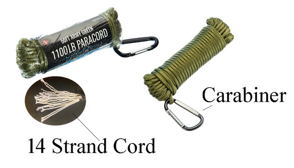 14 Strand Army Green Paracord With Carabiner. 360 Pound work load