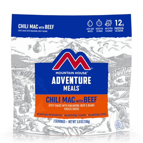 Made with pillowy macaroni noodles, savory precooked beef and yummy kidney beans in a tasty chili sauce, our freeze dried Chili Mac is a customer favorite from coast to coast.