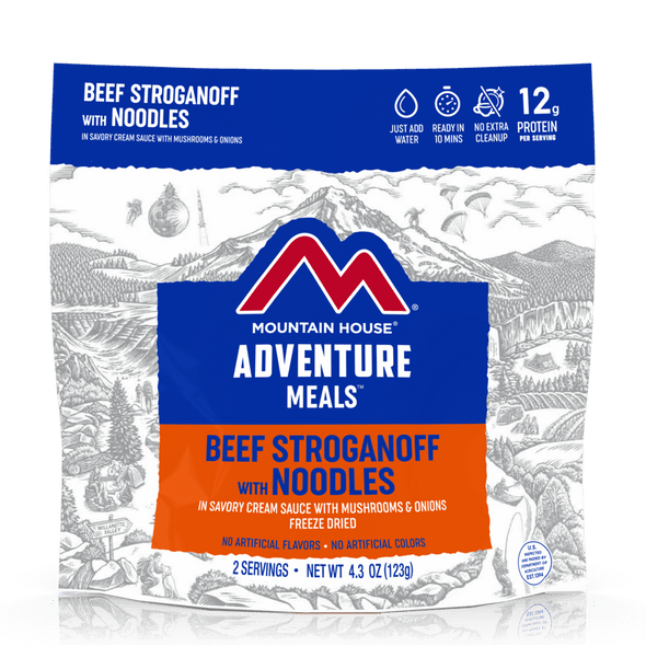 Beef Stroganoff - Pouch. Tender pieces of beef, tasty onions and mushrooms blended in a savory cream sauce over a bed of egg noodles ... with a dish this satisfying, you'll never guess that it's freeze dried.