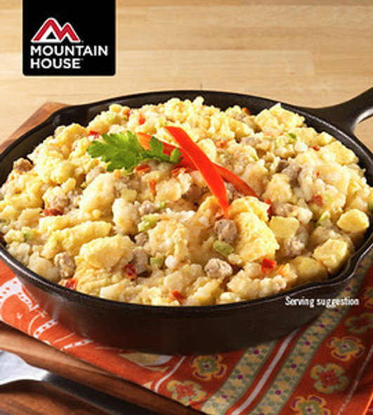 Mountain House Breakfast Skillet Pouch. Filling hash browns, savory sausage, tasty veggies, and scrambled eggs all team up to make the legendary Mountain House Breakfast Skillet.  Gluten Free