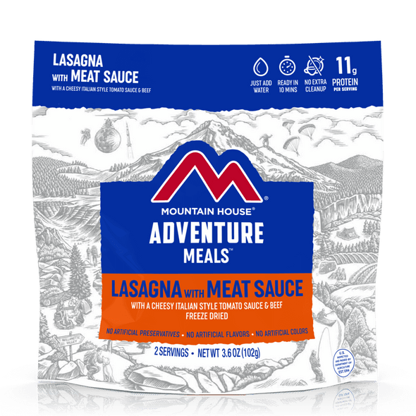 Mountain House Lasagna with Meat Sauce Pouch. Made with real meat sauce, cheese, and noodles, Mountain House Lasagna with Meat Sauce is a comforting, nearly-instant meal that can be enjoyed anywhere around the world at any given time.