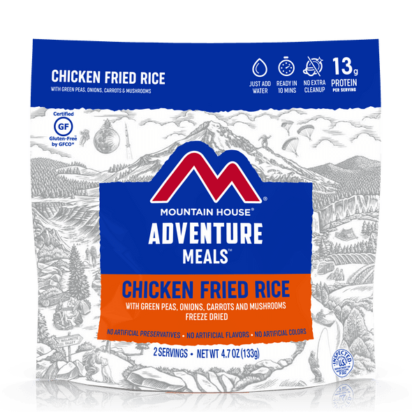 Mountain House Gluten Free Chicken Fried Rice Pouch. Made with delicious bits of chicken, scrambled eggs, mushrooms, onion, and peppers, Mountain House Chicken Fried Rice brings you a blend of flavor that's just as tasty as what you'd find in your favorite takeout restaurant without that long wait time.