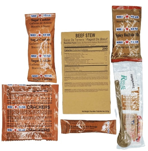 MRE single meal. Our entrees are manufactured to military specifications. This entrée is fully cooked and ready to eat, cold or heated.