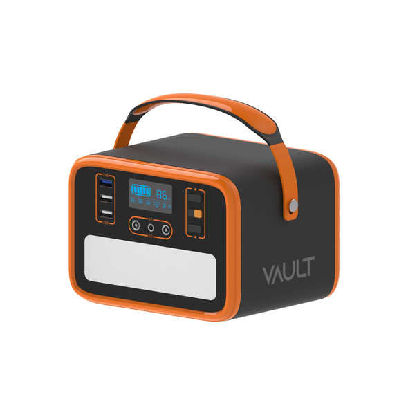The Vault power station is the perfect all-in-one power solution for the home and on the go. Designed with one 110V/220V AC output port, two DC charging ports, and three USB ports, this portable power station provides 50400mAh of power and is built for travel with a soft carry handle.