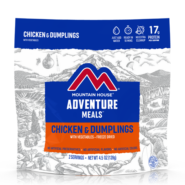 Mountain House Chicken and Dumplings Pouch. This is a new twist on an old Southern favorite. With layers of chicken, vegetables, and fluffy dumplings in a white gravy, this recipe gives you that home-cooked flavor you've been craving.