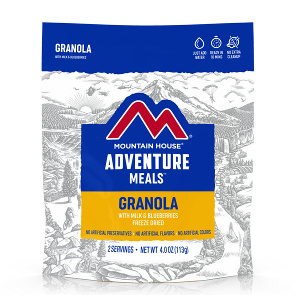 Made with real blueberries, crunchy oats, and powdered milk, Mountain House's Granola with Milk & Blueberries has fueled everyone from the United States Special Forces to explorers on Antarctic expeditions and everywhere in between.