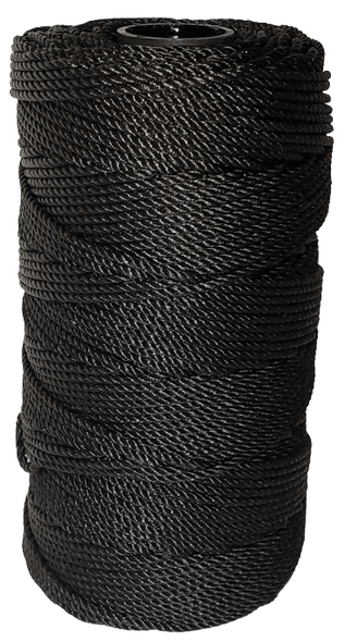 This black netcoat treated twine, a. k. a. bank line, is resistant to abrasion, mildew, rot, marine growth, and most chemicals. Stiff and at times tacky from the treat this line has excellent knotting qualities.
