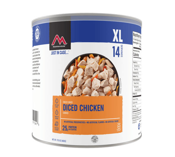 If you're craving protein but don't have the means (or culinary expertise) to cook up some meat, Mountain House's freeze dried chicken is the answer. With 14 servings of real, precooked cubes of chicken in each can, our Diced Chicken makes a great addition to your emergency food supply or any meal that requires tender chunks of chicken.