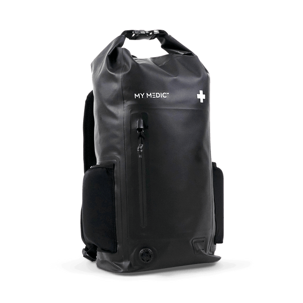 Multifunctional drybag packed with first aid and emergency supplies designed in accordance with the National Park Service 10 Essential first aid categories.
